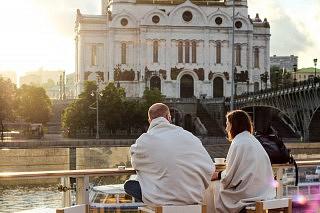 Strelka Bar mit Blick auf die Moskwa